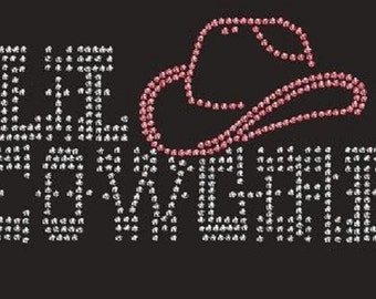 Childrens Lil Cowgirl Rhinestone Iron On T Shirt Design H4TI