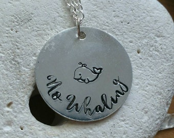 "No whaling whale necklace - vegan jewellery - vegan necklace - jewelry - animal rights jewellery - handstamped 28mm pendant on 18"" chain"