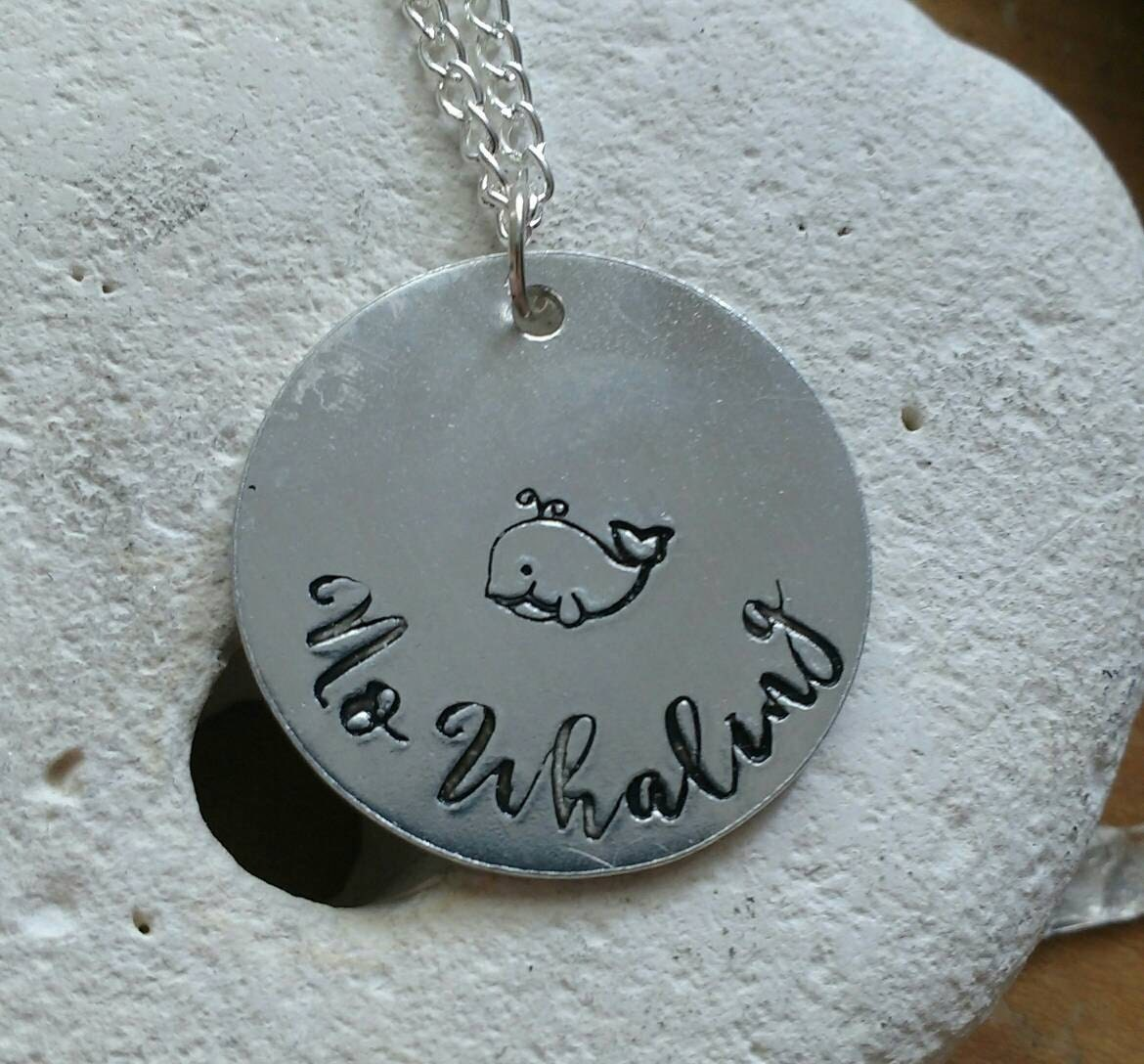 """No whaling whale necklace - vegan jewellery - vegan necklace - jewelry - animal rights jewellery - handstamped 28mm pendant on 18"""" chain"""