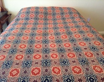 Vintage Early 19th Century Overshot Handwoven Coverlet
