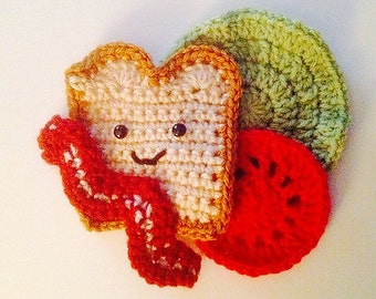 Play Food Fun Hand Crochet - BLT Sandwich - Bacon Lettuce Tomato and Happy Bread