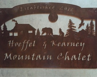 Personalized Metal Sign with COYOTE,BEAR ,CABIN woodland scene  customized with your name