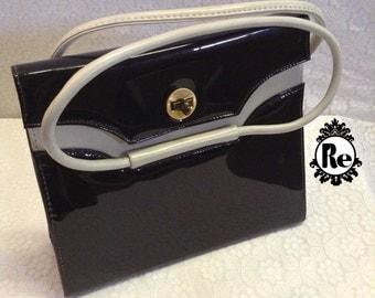 Vintage Handbag Purse Black & White Patton Leather  Purse with Handle No. 61