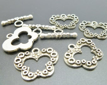 5 Antique Silver Toggle Clasps sets - Ornate Clasps  - Butterfly Design -  C079