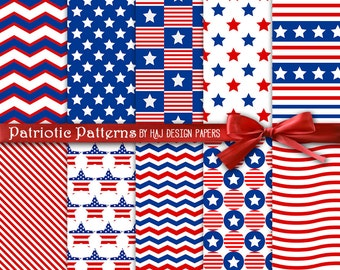 """Patriotic digital paper 4th of July digital paper Independence day / Printable Background, American Flag, Red, Blue & White. 12""""x12"""""""