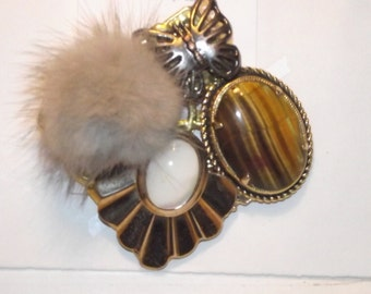 Elegant Mink Tiger's Eye Opal Themed 1-of-a-kind Collage Brooch and/or Pendant made from vintage jewelry. Mink pompom.  Gold tone . #51.