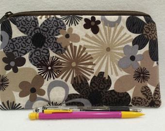Zipper Pouch, Cosmetic Bag, Pencil Case, Floral, Flowers, Brown, Tan, Gray, Medication Bag, Gadget Bag, Nylon Lining, Zipper Closure