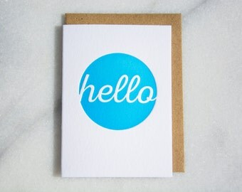 Mini Hello Letterpress Card