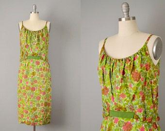 "50s Dress // 1950's ""Frank Starr"" Tropical Print Cotton Bloussant Dress w/ Ribbon Bow & Spaghetti Straps // S"