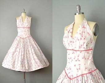 50s Dress // 1950's White & Red Novelty Deer Print Cotton Halter Dress // Small