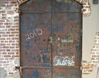 """Door Photography, Door Print, Architectural Art, Rustic Brown Decor, Primitive Rural Decor, Weathered Door Art, Savannah Doors- """"Door 2013"""""""