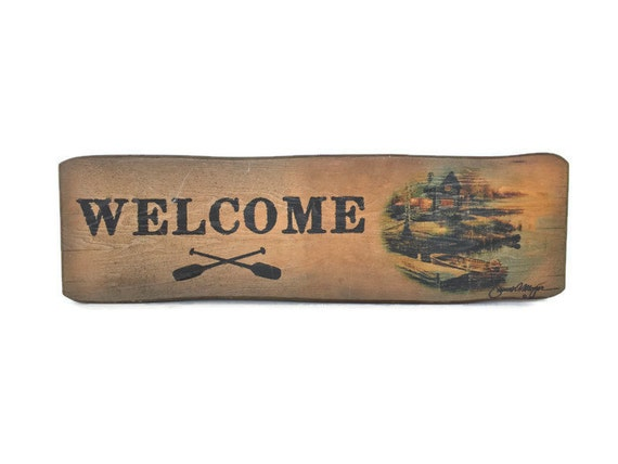 Vintage weathered welcome sign hand painted wood plaque cabin decor