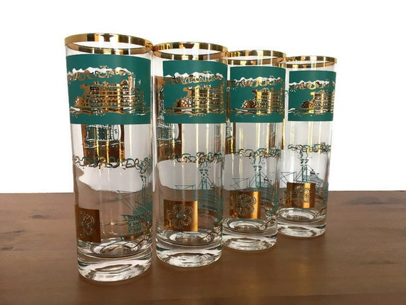 Libbey Southern Comfort promotional glasses steamboat paddle boat tom collins