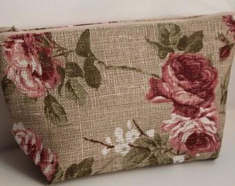 "Linen Cosmetic Bag ""Rustic Roses"" - Cosmetic Storage - Beautiful Linen Gift"