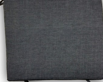 """Natural Latex Rectangular Seat Cushion 17""""x14""""x2""""/3"""" - Medium-Firm - with Organic Cotton Denim Cover and ties at corners"""