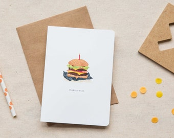 Birthday Card  |  Hamburger with Candle
