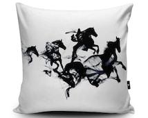 Horses Cushion, Horses Pillow, Black Horses Cushion Cover, Horses Pillow Case, Modern Horse Illustration Cushion Pillow, Faux Suede
