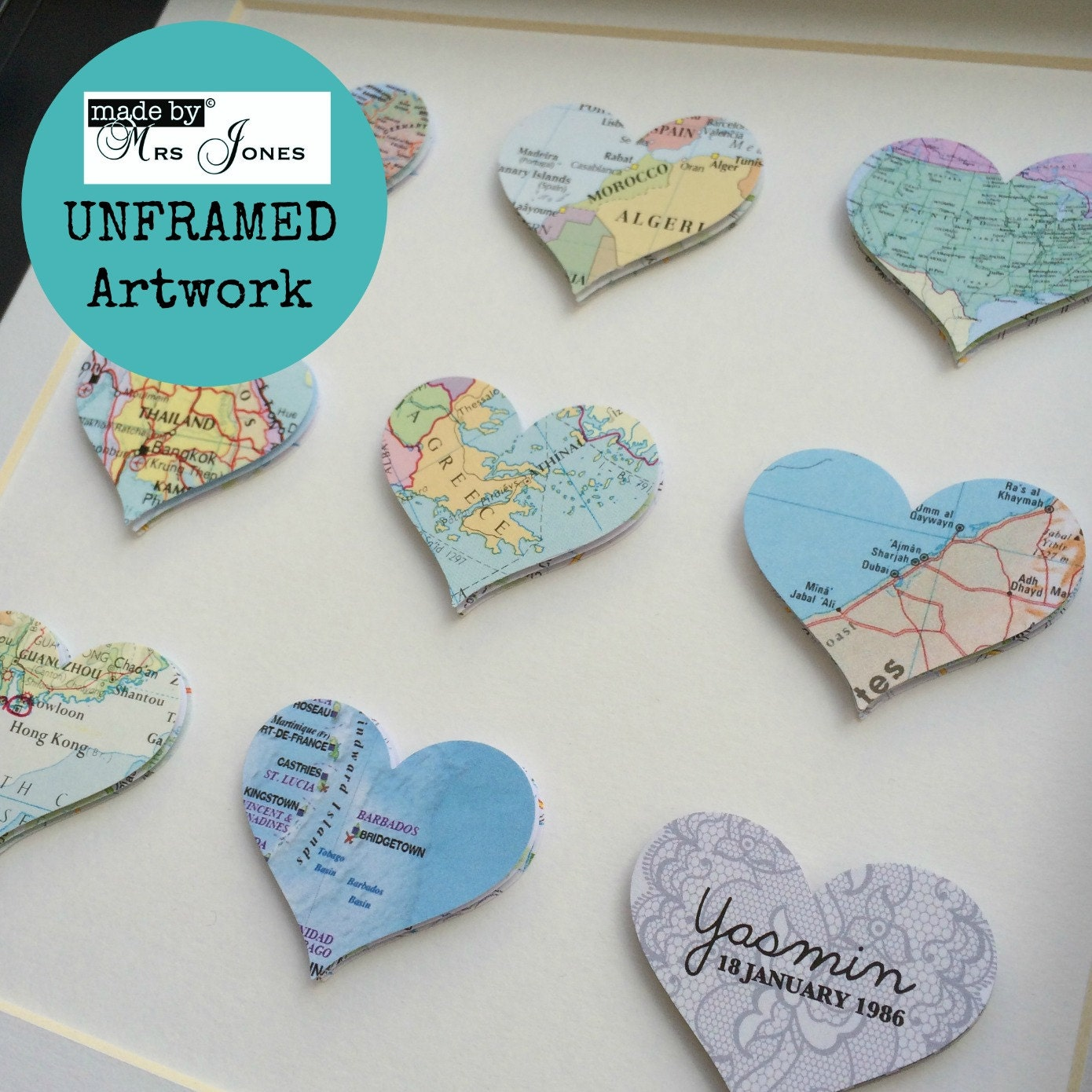 Map Art Wedding Gift : Map art 9 map hearts wedding gift world maps travel