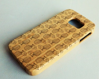 WOODEN PHONE CASE Samsung New Zealand fantail bird design laser etched bamboo (wooden Samsung S5 case)