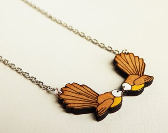 WOODEN PENDANT NECKLACE New Zealand fantail bird laser cut wood jewelry  (laser cut pendant necklace)
