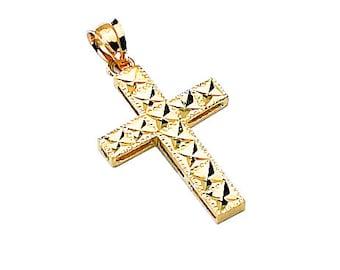 14k yellow gold diamond cut accent cross pendant. Religious pendant.