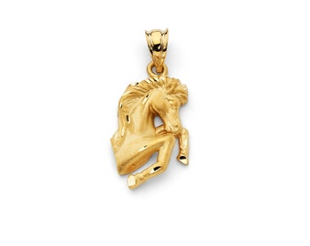 14K Yellow Gold Horse Pendant, Horse pendant, Horse Jewelry, Gold Horse, Animal Jewelry, Gold Pendant, Gold Jewelry, Animal Jewelry