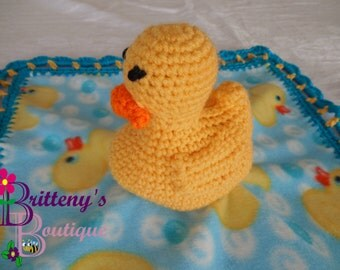 Baby Lovey / Crochet Baby Lovey / Crochet Plush Yellow Duck Baby Fleece Lovey / Baby Security Blanket / Snuggle Blanket / Baby Shower Gift