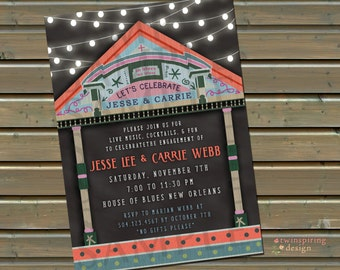 New Orleans Blues Invitations - 20, 30 or 50 Printed Invitations and Envelopes