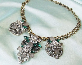 Statement necklace gold gray green with Rhinestone necklace Collier