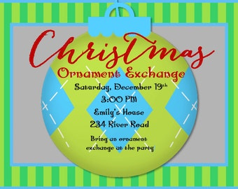 Ornament Swap Christmas Party |Dirty Santa Christmas Invitation | Ornament Exchange | Customize Wording |  Class Party Invitation