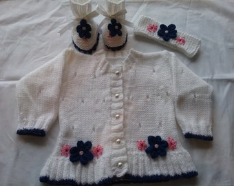 new hand knitted girls cardigan, boots and headband