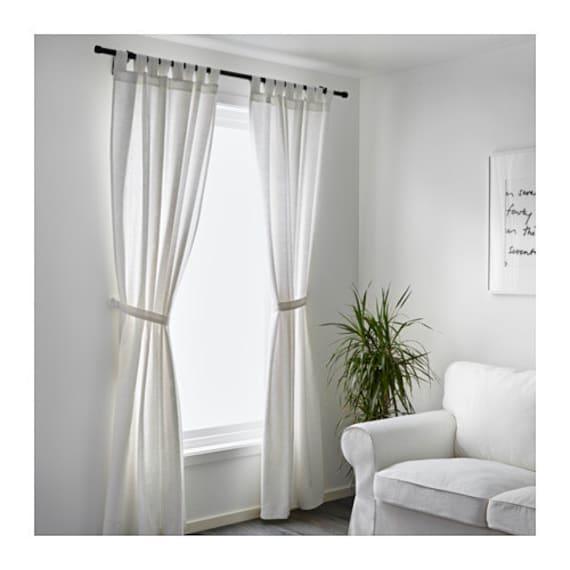 set of 2 white cotton curtains 52 39 39 white cotton tab top curtain