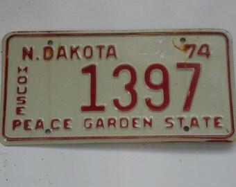 Vintage 1974 North Dakota House License Plate