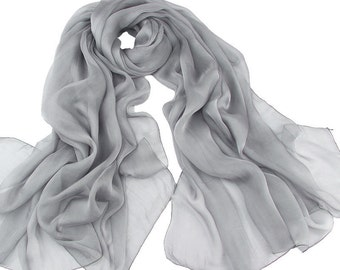 Gray Chiffon Scarf - Grey Chiffon Scarf - Dark Gray Chiffon Scarf - Dark Gray Headpiece-30D23