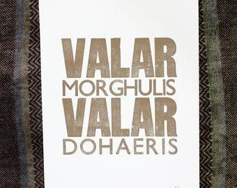 DISCOUNTED - Original Letterpress Print Valar Morghulis Valar Dohaeris - Game of Thrones - Gold