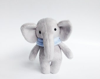 tiny elephant toy - stuffed elephant - pocket plush - plush elephant - pocket doll - mini plush toy - Made to order!