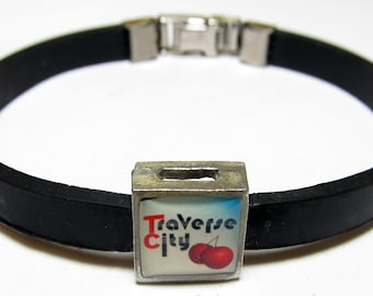 Traverse City Cherries Michigan Link With Choice Of Colored Band Charm Bracelet