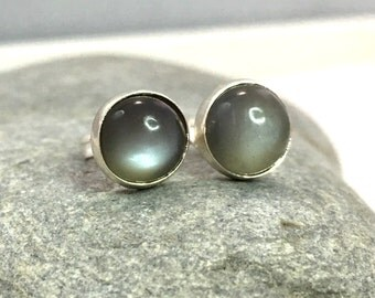 Gray Moonstone Stud Earrings .. 8mm .. Gray Moonstone Earrings .. Handmade Jewelry .. Moonstone Jewelry