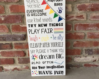 Playroom Rules - Wood Sign, classroom rules
