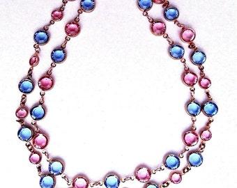 """Swarovski Crystal Elements Gold Plated Necklace 24""""w/Light Blue & Rose Pink 9 mm"""