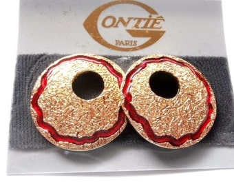 """Signed Gontie Paris Post Earrings Gold Plated New 1 1/4"""" diameter"""