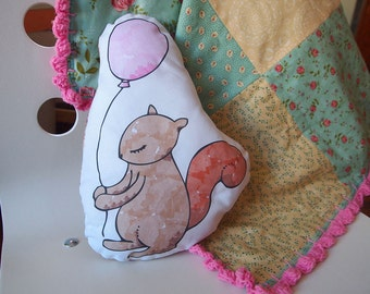 NEW! Handmade Woodland Squirrel Pillow, Squirrel Toy, Stuffed Animal