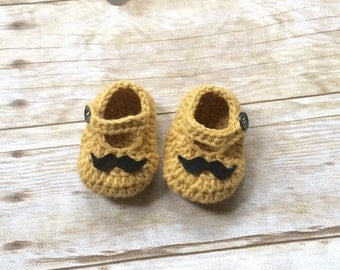 Crochet mustache shoes, mustache shoes , baby shoes , baby gift , photo prop shoes