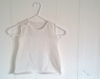Cream cotton baby knittted dress