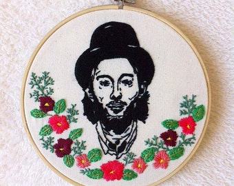 Thom Yorke wall decor/Thom Yorke embroidery hoop art/Radiohead home decor