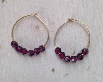 Garnet Earrings: Thin Gold Hoop Earrings with Garnet, Gemstone Hoop Earrings, Gemstone Earrings, Hoop Earrings, Garnet Jewelry, Garnets