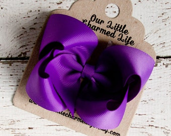 Purple Hair Bow, Purple Hairbow, Purple Boutique Hair Bow, Purple Bow, Purple Hair Clip, Baby Hair Bow, Toddler Hair Bow, Bows for Girls