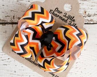 Halloween Hair Bow, Halloween Hairbow, Halloween Hair Clip, Black and Orange Hair Bow, Halloween Chevron Hair Bow, Fall Hair Bow