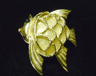 Angel Fish Pin ~ Gold Metal and Faux mother of pearl
