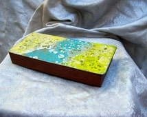 MID CENTURY MODERNIST Teak Wood Box with Colorful Abstract Enamel on Copper Lid